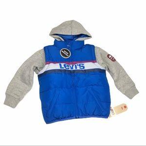 NEW Levi's Boys' 2fer Puffer Jacket Size 2T